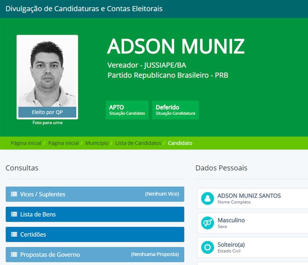 Adson foi eleito vereador de Jussiape em 2012. (Foto: Reprodução/DivulgaCand)
