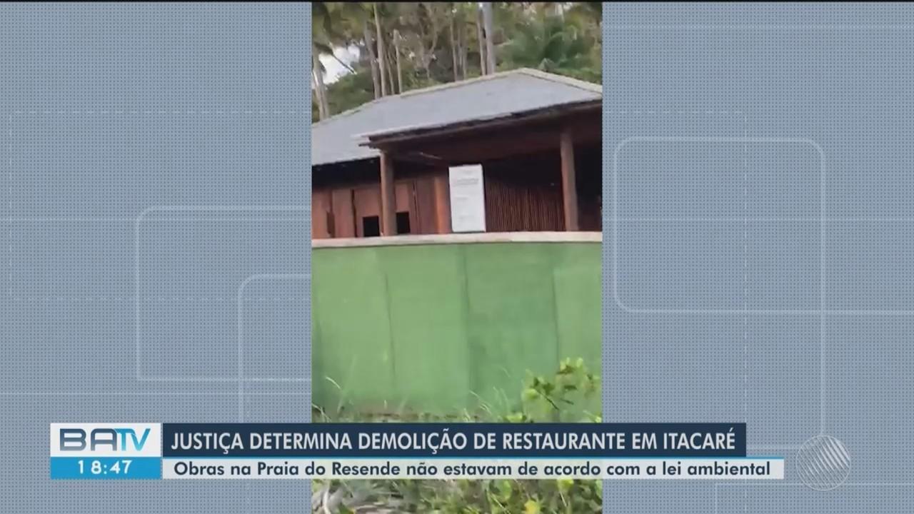 Justiça determina demolição de restaurante em praia de Itacaré, sul da Bahia