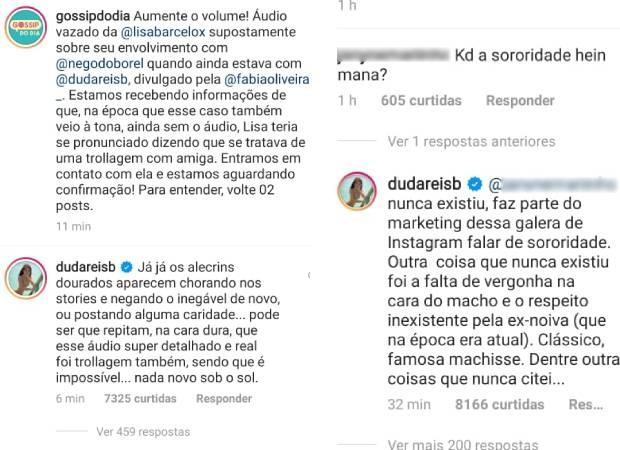Duda Reis comenta publicação com áudios de suposta traição de Nego do Borel com Lisa Barcelos (Foto: Reprodução/Instagram)