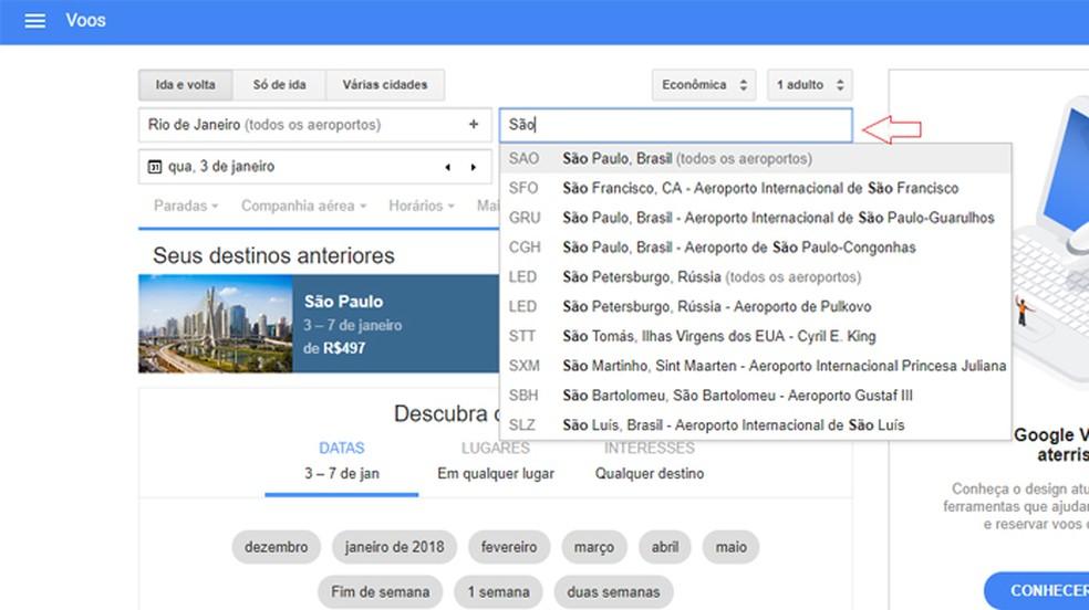Entre no Google Flights e pesquise as passagens que você deseja (Foto: Reprodução/Clara Barreto)