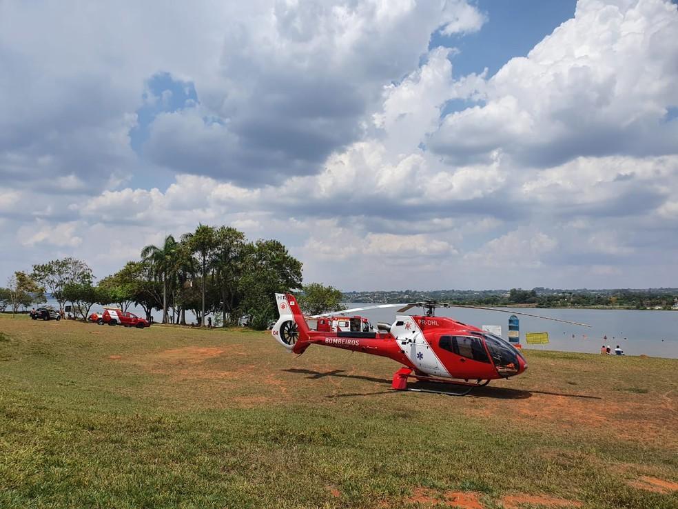Resgate a jovem afogado no Lago Paranoá, em Brasília — Foto: Corpo de Bombeiros/Divulgação