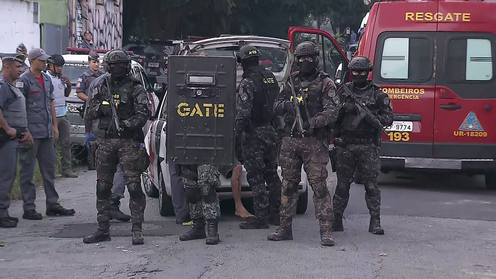 Gate da PM em imagem de arquivo durante ação em Cotia, na Grande São Paulo — Foto: Reprodução/TV Globo