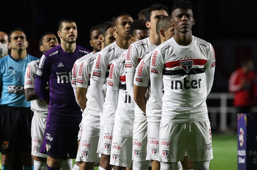 Os titulares do São Paulo na eliminação para o Mirassol no Morumbi — Foto: Rubens Chiri / saopaulofc.net