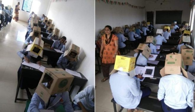 Fotos de estudantes fazendo prova com caixa de papelão na cabeça para não 'colar' viralizam e causam polêmica na Índia - Notícias - Plantão Diário