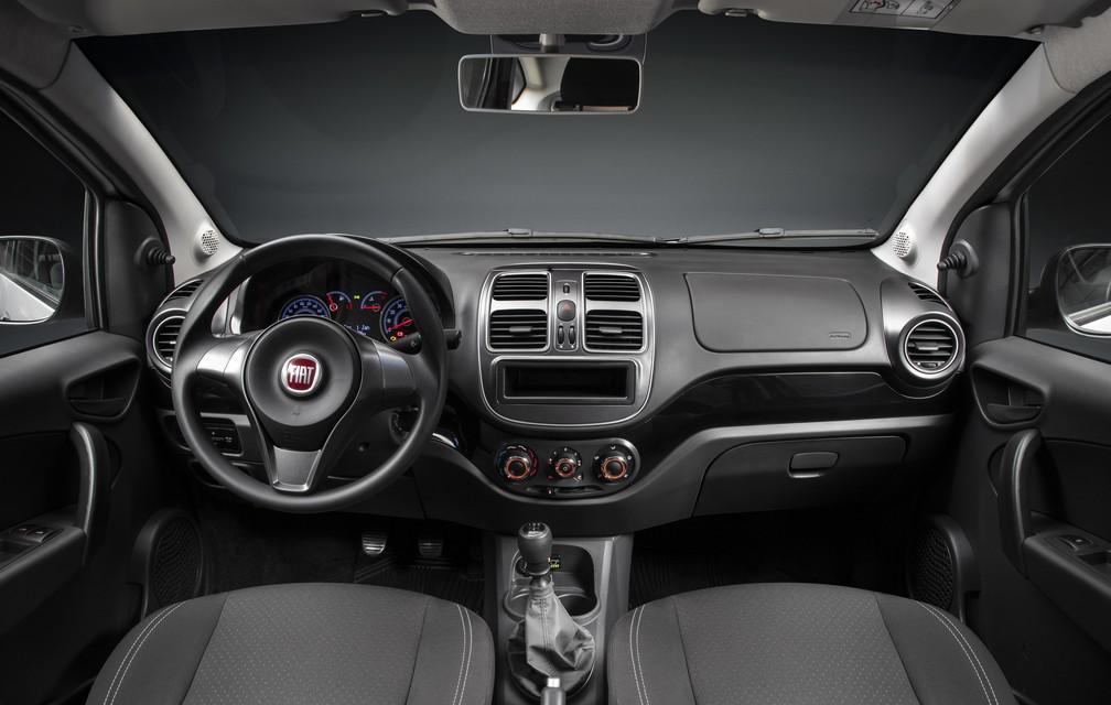 Interiro do Fiat Grand Siena preparado para GNV de fábrica — Foto: Fiat/Divulgação