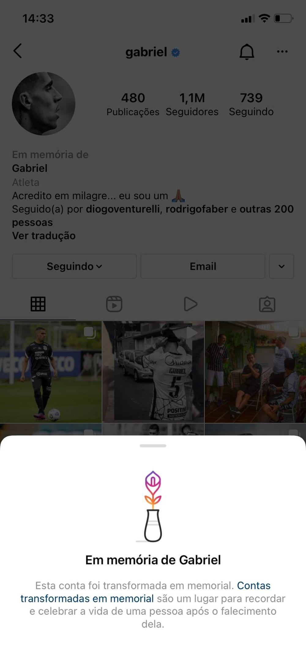 Conta de Instagram de Gabriel virá pagina de pessoa morta, Corinthians fala de ataque de hacker