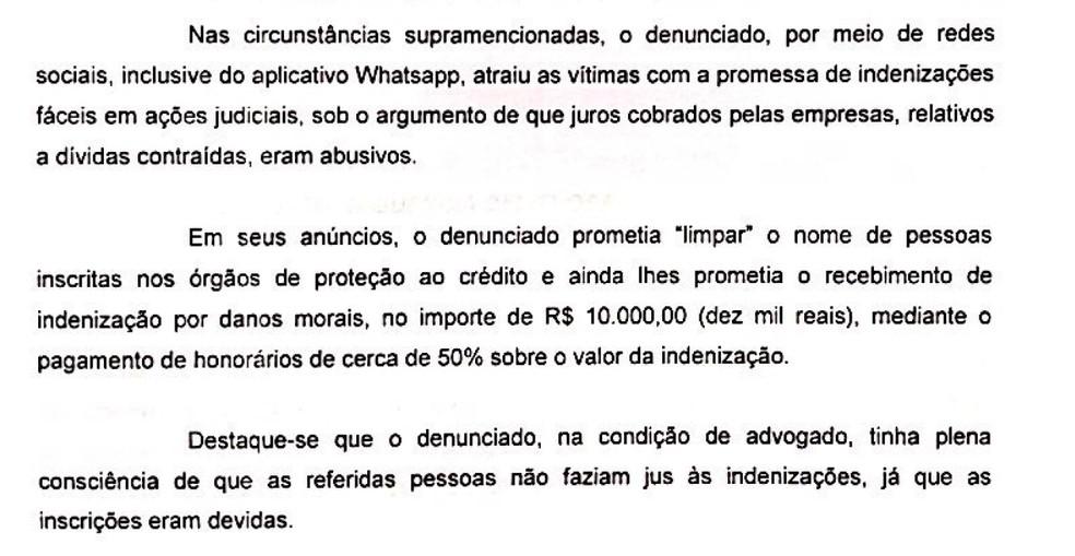 Trecho de denúncia do MP contra o advogado Felipe Vilarouca. — Foto: Reprodução