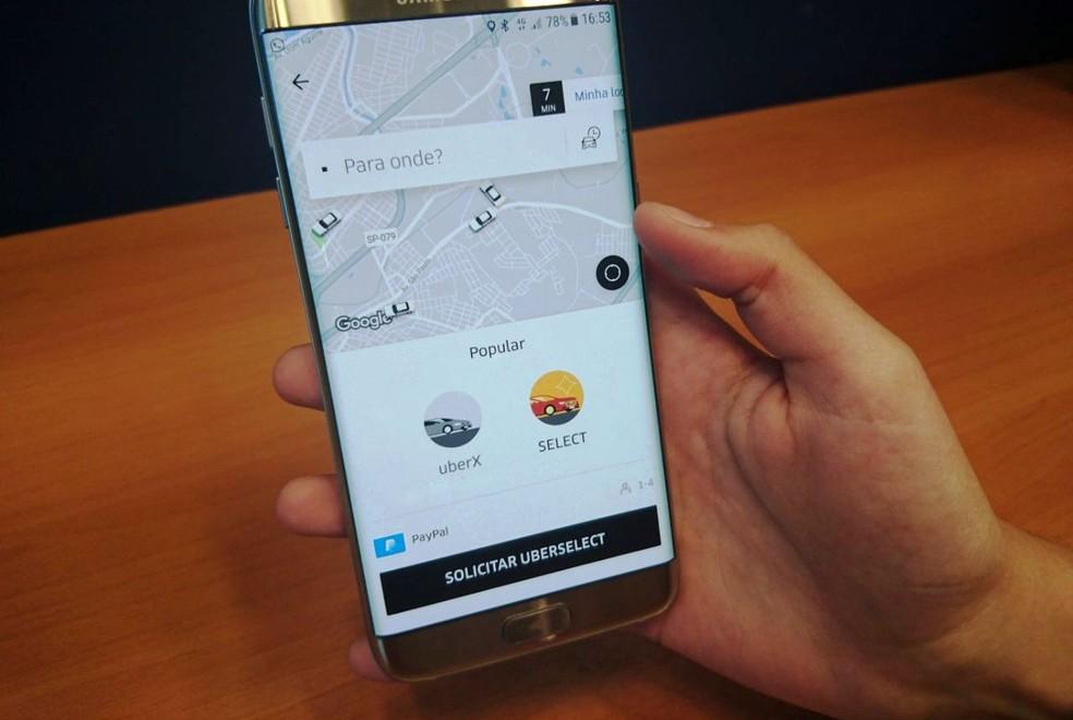 Aplicativo da Uber (Foto: Fernanda Szabadi/G1)