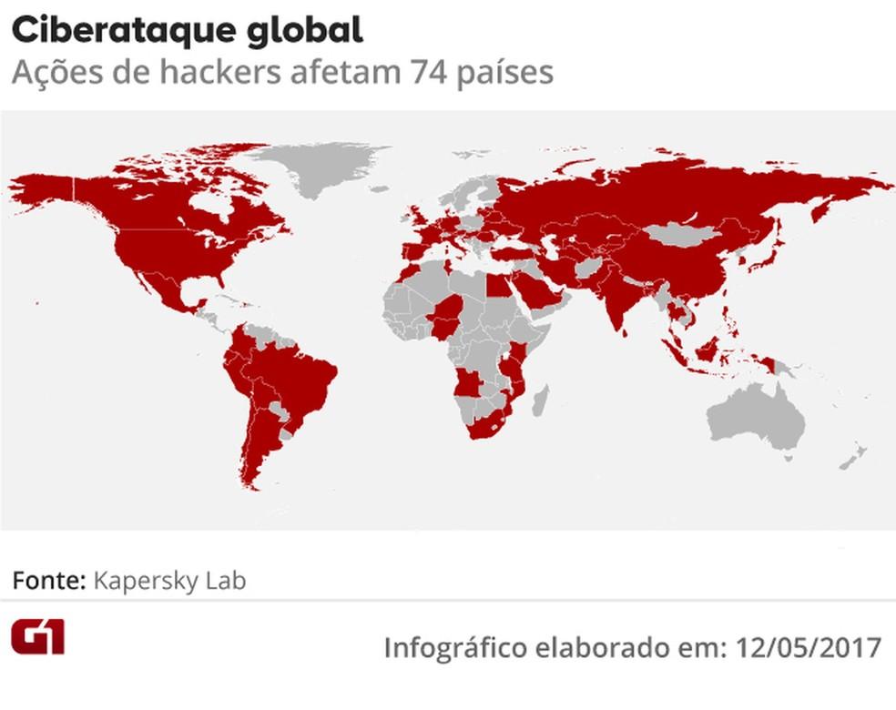 Mapa dos ciberataques ao redor do mundo (Foto: Editoria de arte/G1)
