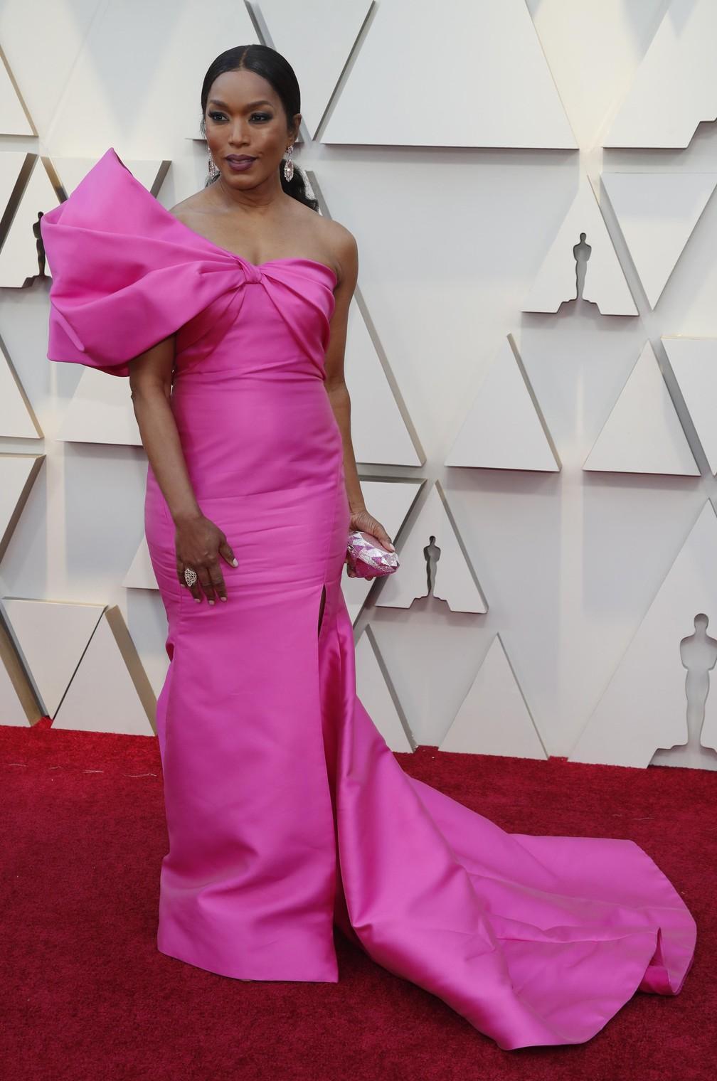 A atriz  Angela Bassett no tapete vermelho do Oscar 2019 — Foto: Mario Anzuoni/Reuters