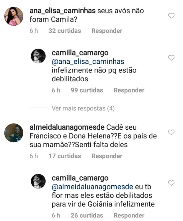 Camilla Camargo explica ausência dos avós em festa de casamento (Foto: Reprodução/Instagram)