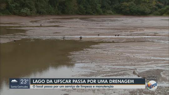 Lago da UFSCar é drenado para limpeza e desassoreamento, mas falta verba para completar obra