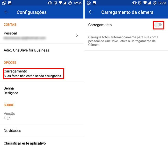 OneDrive para Android carregará fotos do celular para nuvem automaticamente (Foto: Reprodução/Elson de Souza)