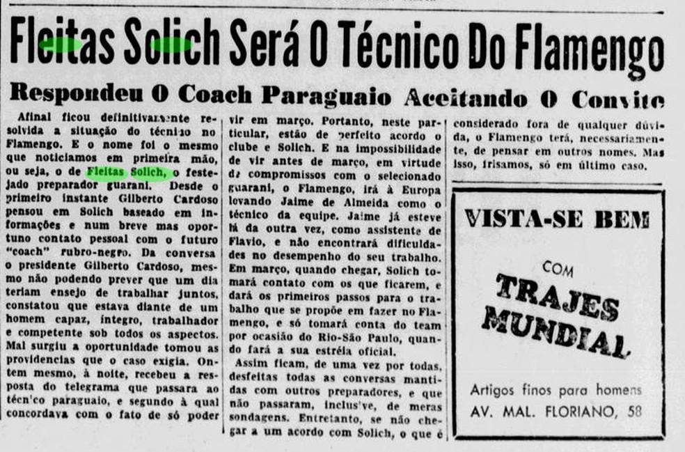 """Notícia do """"Jornal do Sports"""" de 1953 relata o acerto de Solich com o Flamengo — Foto: Arquivo / Jornal dos Sports"""