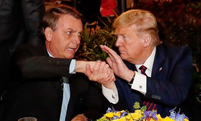 Donald Trump e Jair Bolsonaro em jantar na Flórida