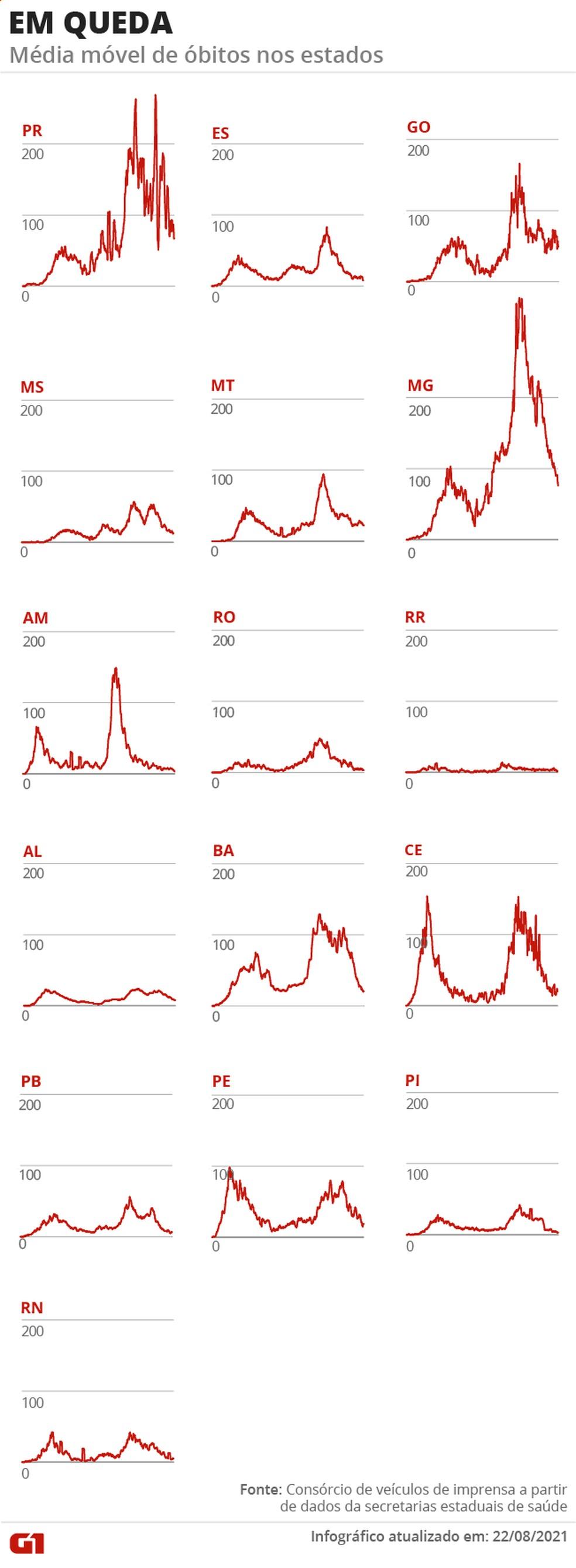 Estados com tendência de morte em queda — Foto: Arte/G1