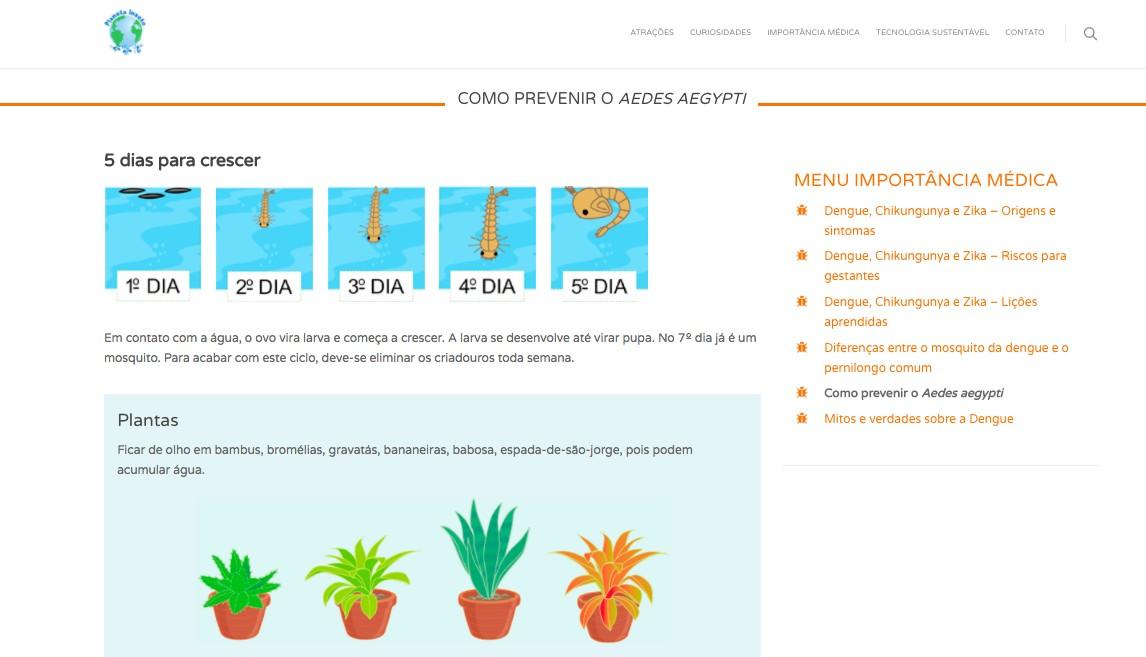 No portal do Planeta Inseto, os visitantes também podem aprender técnicas de prevenção contra a dengue (Foto: Reprodução)