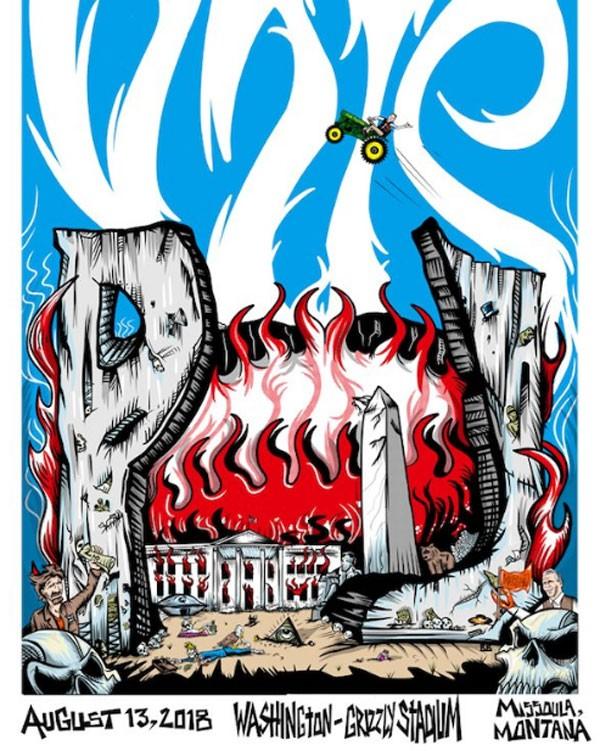 Republicanos criticaram uma cartaz do Pearl Jam que mostra a Casa Branca em chamas e uma águia bicando um esqueleto que seria de Trump (Foto: Reprodução/Twitter)