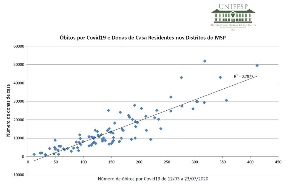 Mortes por coronavírus em donas de casa residentes na cidade de SP — Foto: Reprodução/Unifesp