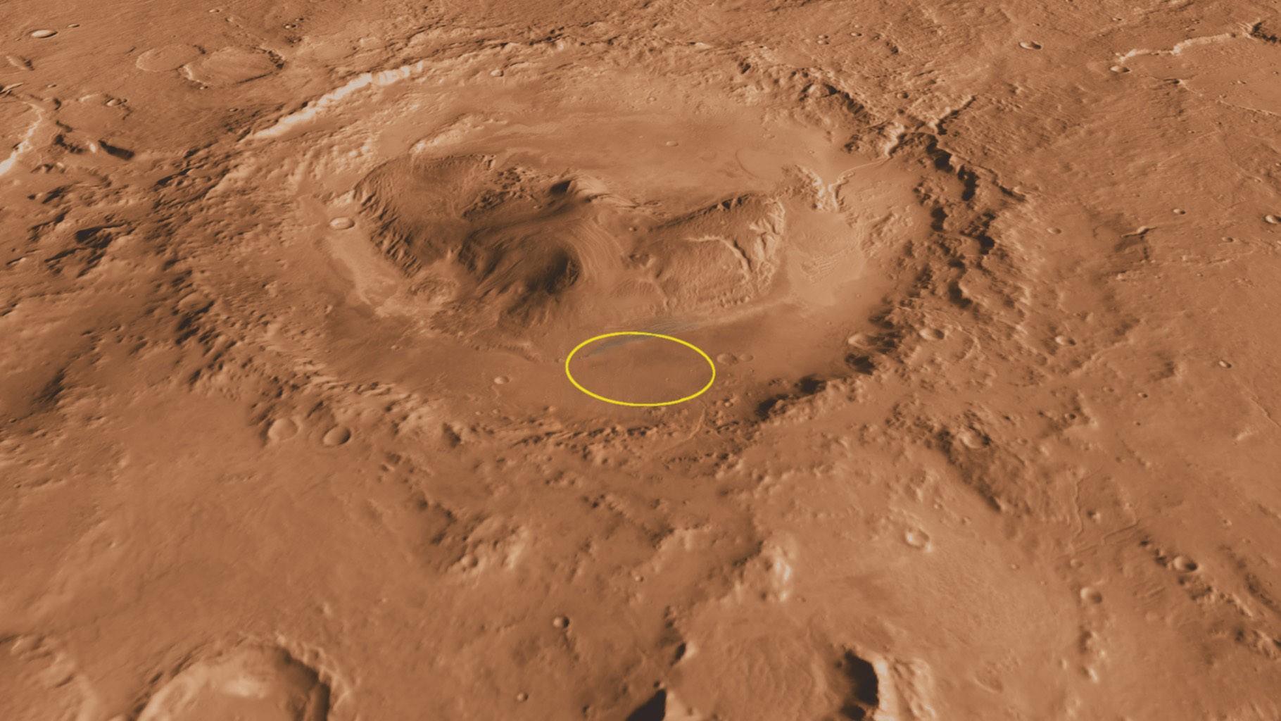 Cratera Gale, de Marte, onde já foi identificado metano no passado (Foto: NASA/JPL-Caltech/ASU/UA)