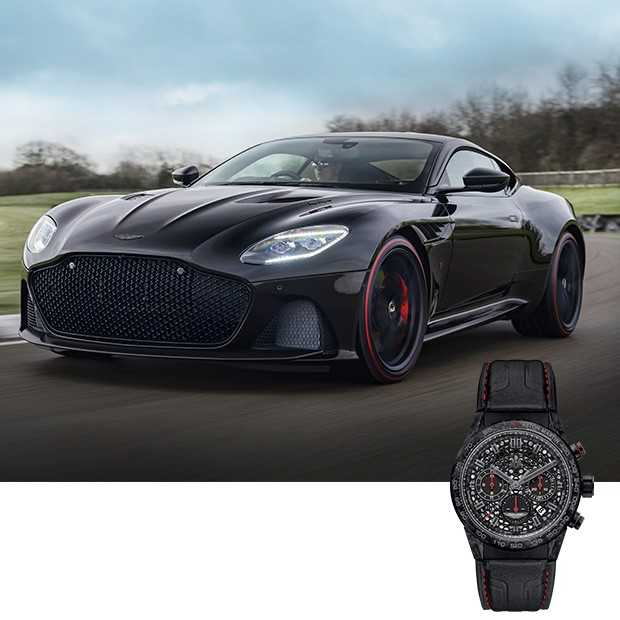 Motor: Assim é chamado o Aston Martin DBS Superleggera. Da grade frontal ao couro da pulseira, carro e relógio têm muito em comum. Não à toa, são vendidos como unidade (Foto: divulgação)