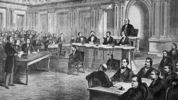 Gravura mostra votação do impeachment do presidente Andrew Johnson no Senado em 1868 (Foto: Getty Images via BBC News Brasil)