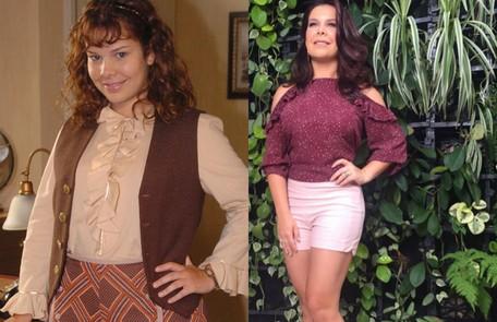 Em 2006, Fernanda Souza ganhou 8kg para o papel da desajeitada Carola de 'O profeta'. A atriz ainda usou um enchimento de edredom modelado numa malha. O figurino era composto de bermudas largas, saias e vestidos estampados TV Globo/Reprodução
