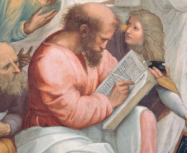 Não se sabe muito sobre a vida de Pitágoras, aqui pintada por Rafael, mas diz-se que ele viajou extensivamente pelo Oriente Médio antes de retornar à Grécia (Foto: Getty Images via BBC News)