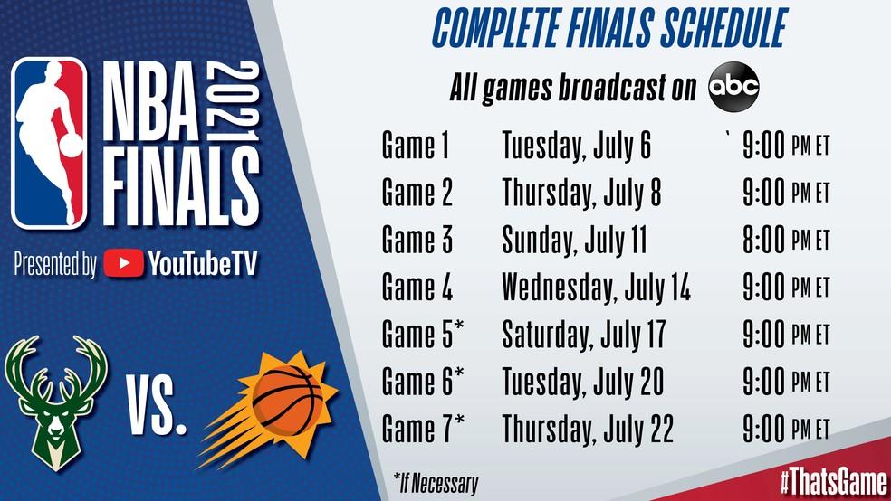 Calendário da final da NBA — Foto: NBA