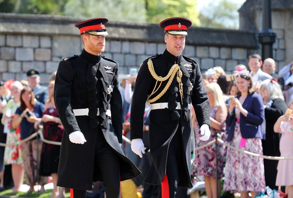 Príncipe Harry e príncipe William no casamento real  (Foto: Gareth Fuller/Pool via Reuters)
