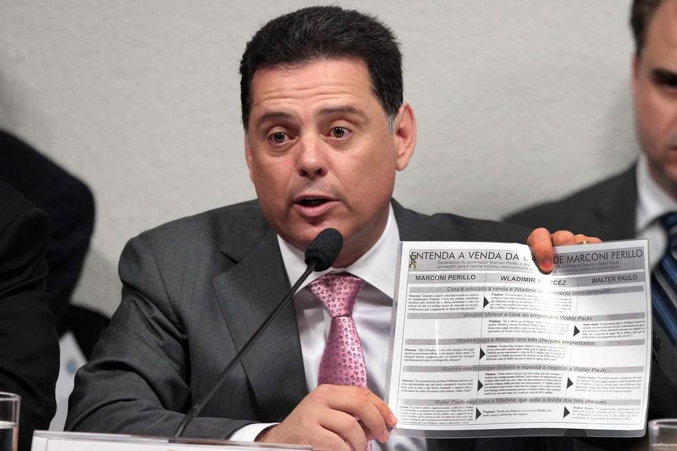 Foto de arquivo de 12/06/2012 de Marconi Perillo durante depoimento no Senado, em Brasília — Foto: Dida Sampaio/Estadão Conteúdo