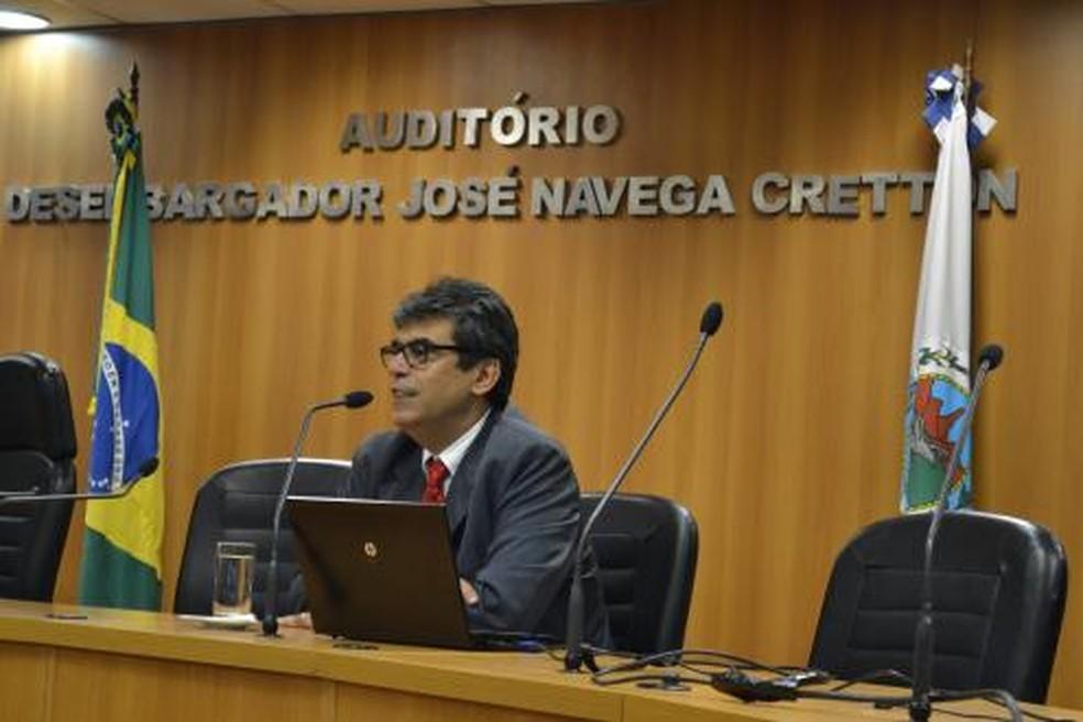 Desembargador Joaquim Domingos Neto em palestra para juízes — Foto: Divulgação
