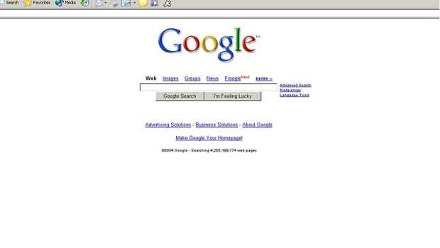 Interface do Google em 2004 (Foto: Getty Images)