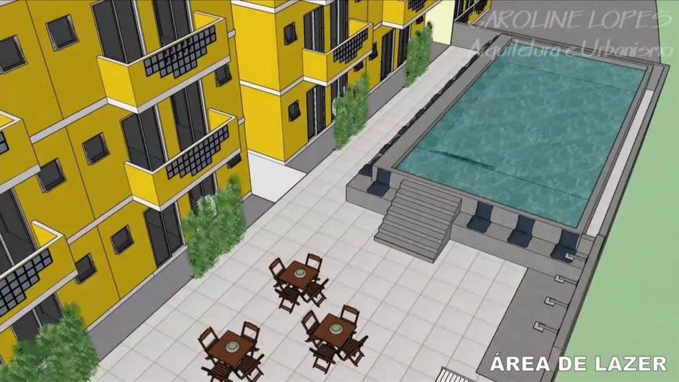 Área de lazer com piscina em condomínio irregular em Copacabana — Foto: Reprodução
