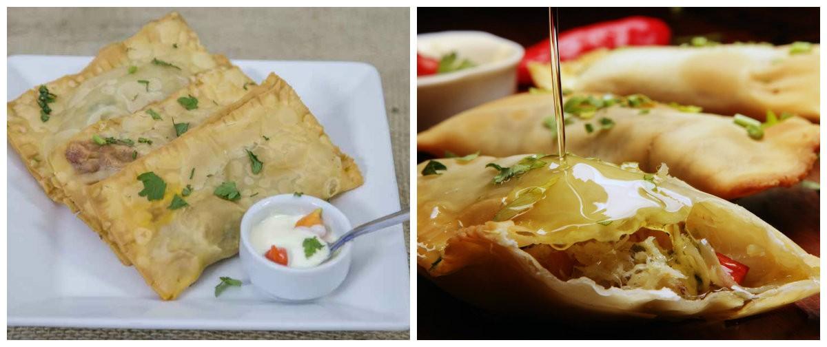Bar da Portuguesa:  Carinhoso: Três pastéis nos sabores bacalhau, jiló com camarão e Romeu e Julieta
