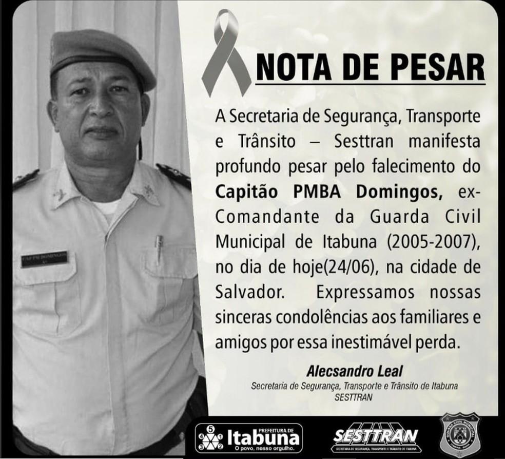 Ex-comandante da Guarda Civil de Itabuna morre de Covid-19 em hospital de Salvador — Foto: Reprodução/Redes Sociais