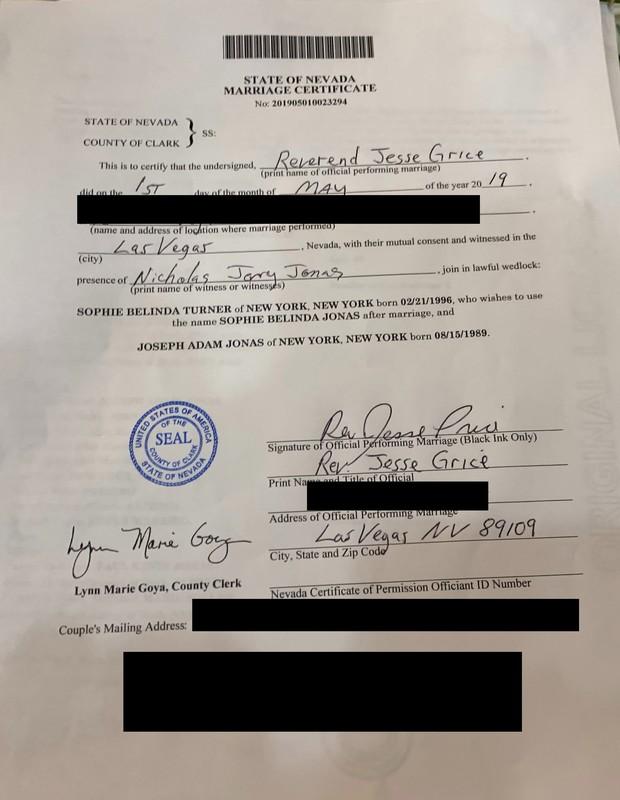 Certidão de casamento de Joe Jonas e Sophie Turner (Foto: Reprodução)
