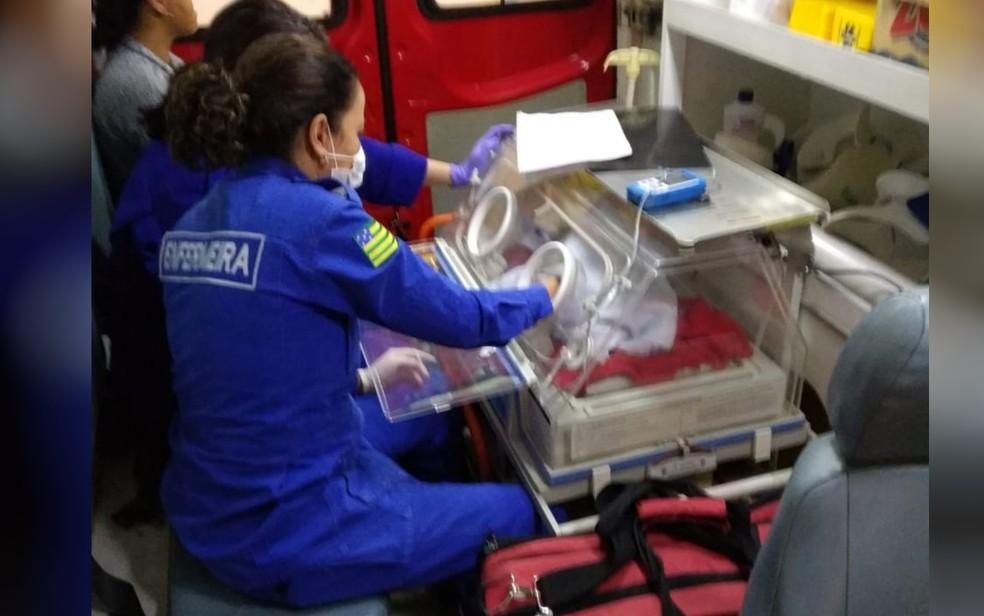 Siamesas são transportadas pelos bombeiros de avião até hospital, em Goiânia — Foto: Corpo de Bombeiros/Divulgação