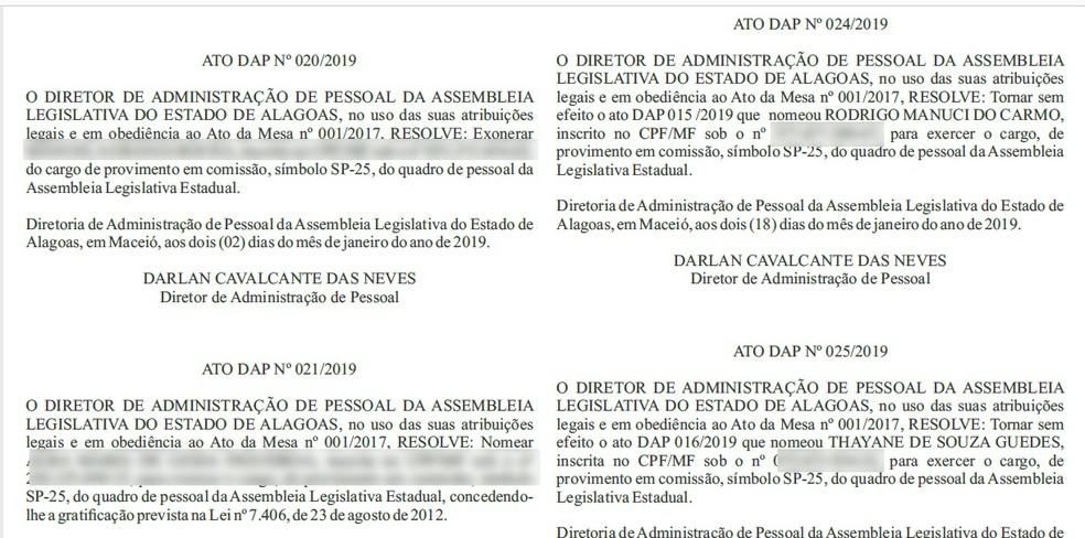 Cancelamento das nomeações foi publicada no diário da ALE desta sexta (18). — Foto: Reprodução