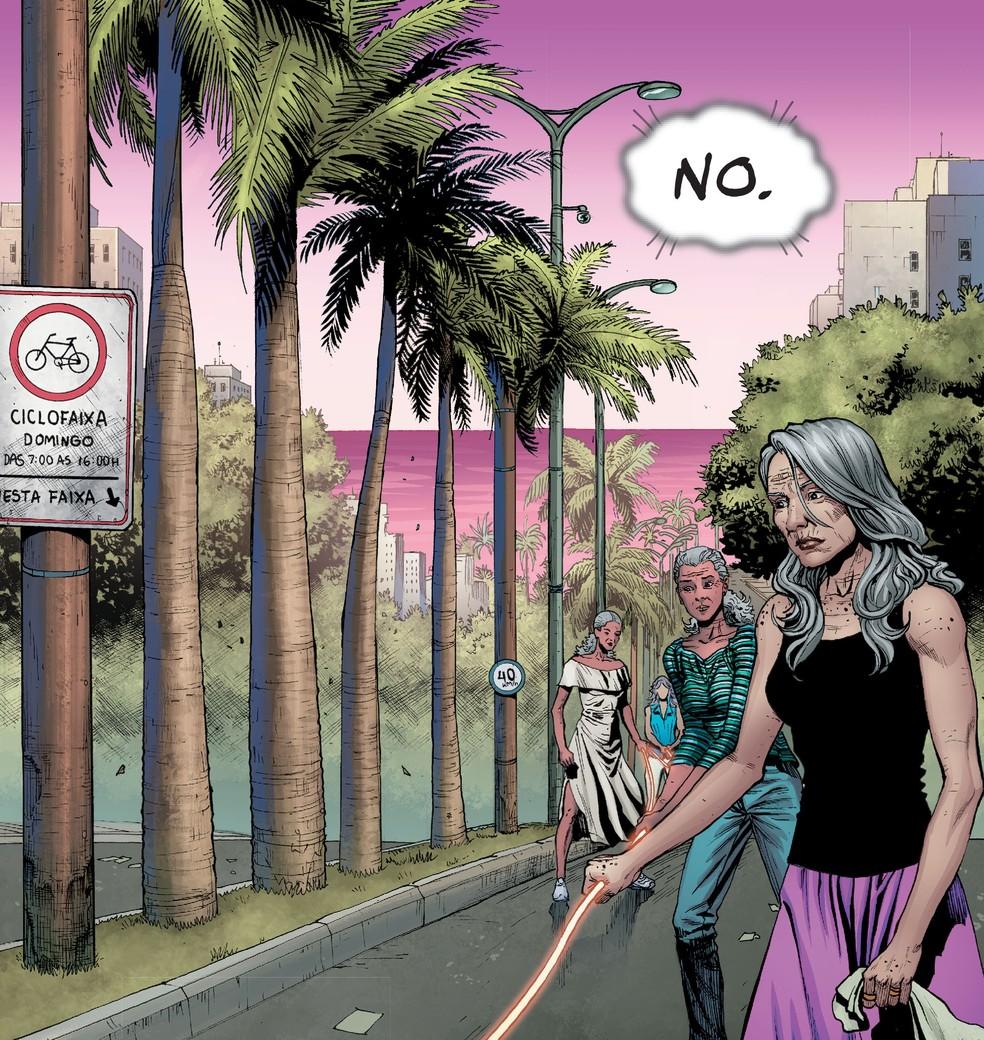 Avenida Epitácio Pessoa, em João Pessoa, retratada em edição de HQ da Mulher-Maravilha — Foto: Reprodução/DC Comics