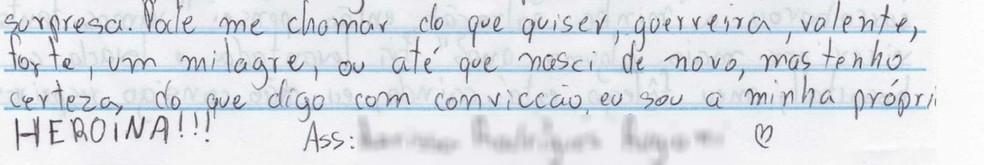 Adolescente escreveu carta de agradecimento após ser salva de ataque com faca pelo tio em Paulo de Faria — Foto: Arquivo Pessoal