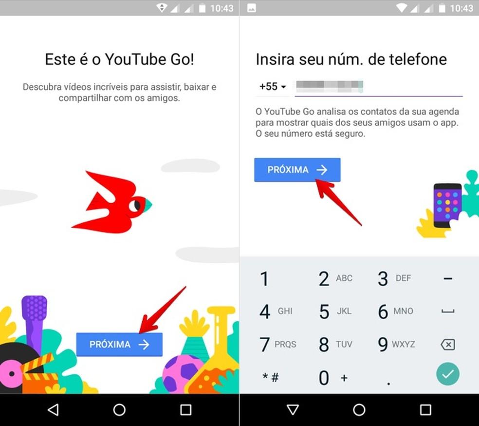 Configuração inicial do YouTube Go (Foto: Reprodução/Helito Bijora)