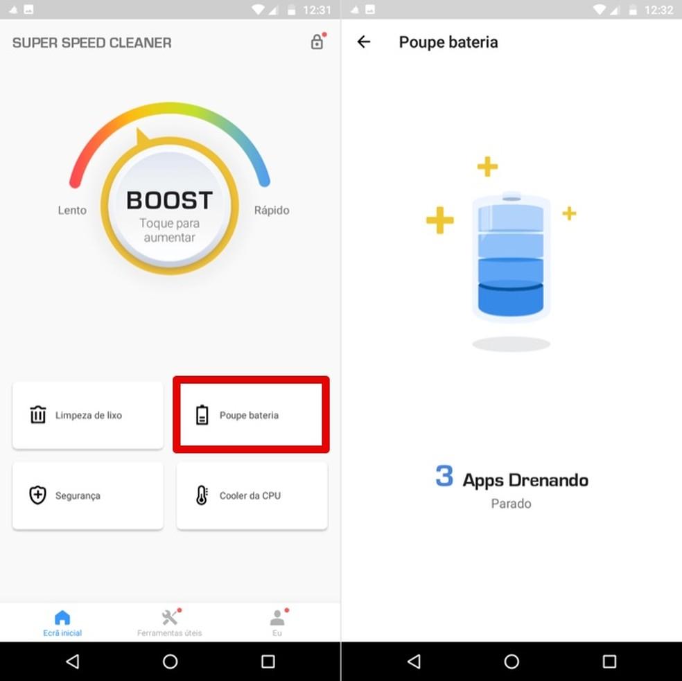 Recurso do app Super Speed Cleaner faz bateria do celular Android durar mais — Foto: Reprodução/Helito Beggiora