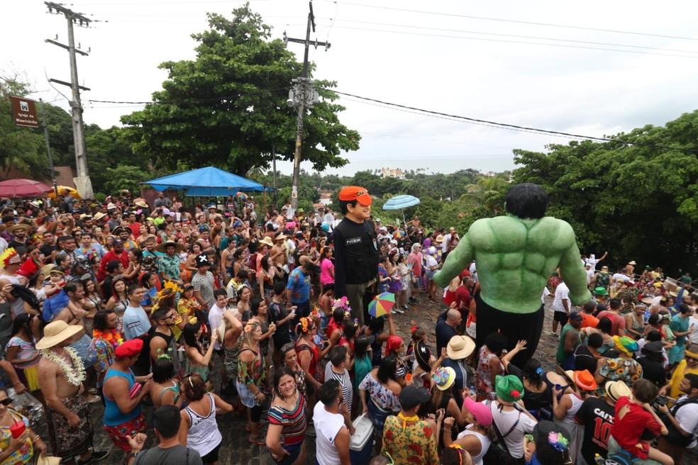 Boneco do Hulk é uma das novidades do carnaval 2019 em Olinda — Foto: Aldo Carneiro/Pernambuco Press
