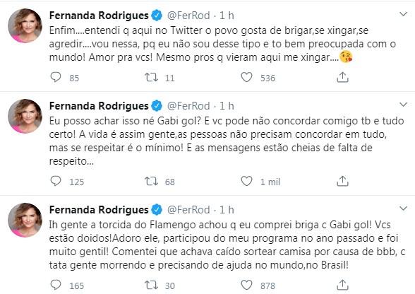 Fernanda Rodrigues deu explicações no Twitter (Foto: Reprodução)
