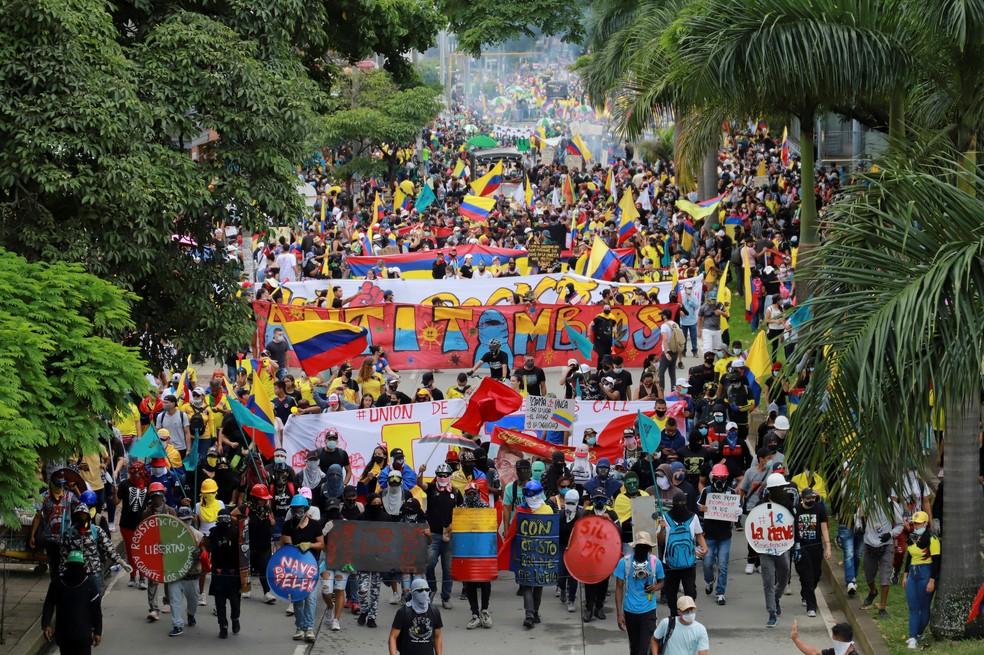 Manifestação na cidade de Cali, na Colômbia, em 28 de maio de 2021 — Foto: Juan B Diaz/Reuters