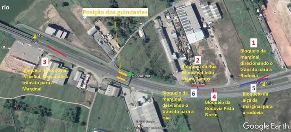 Esquema de bloqueios na BR-101 em Itajaí na noite e madrugada desta quarta-feira (7) — Foto: Autopista Litoral Sul/Divulgação