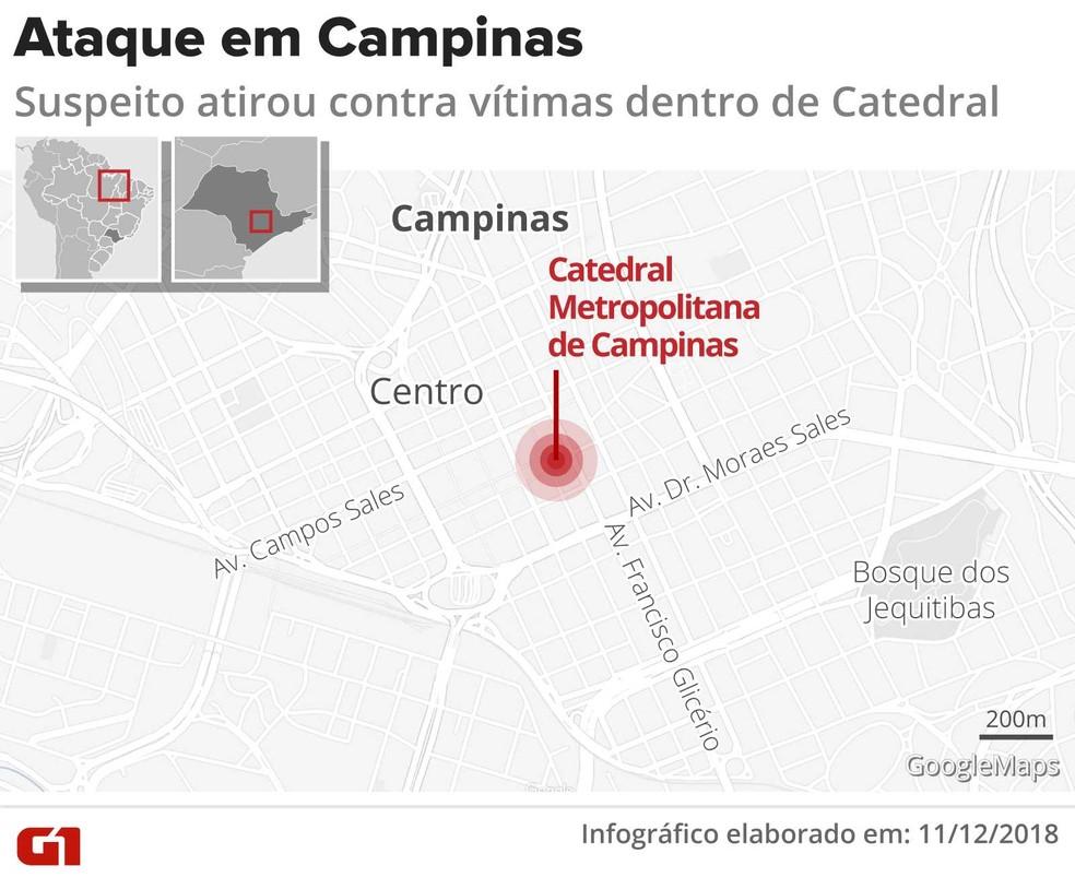 Homem invade missa, mata cinco e comete suicídio na Catedral de Campinas — Foto: Igor Estrella/ G1
