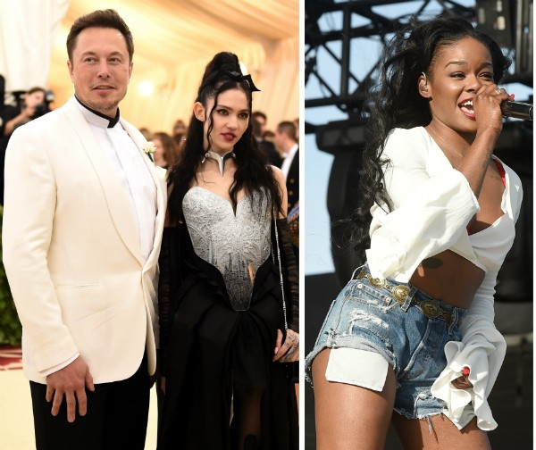 O empresário Elon Musk, a cantora Grimes e a rapper Azealia Banks (Foto: Getty Images)