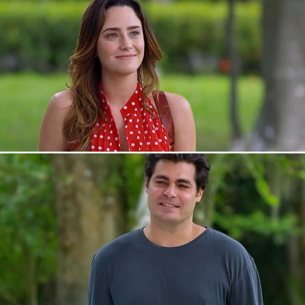 Ana (Fernanda Vasconcellos) e Lúcio (Thiago Lacerda) se encontram fora do hospital em 'A Vida da Gente' — Foto: Globo